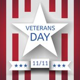 Veterans Day Banner With A White Star And A Ribbon With The Date November 11 On The Background With Red And White Stripes Stock Images