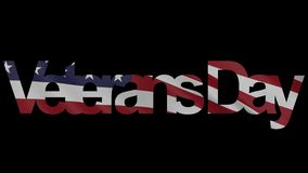 Veterans Day caption and waving American flag 4K intro animation. Veterans Day caption and waving American flag 4K intro clip stock video