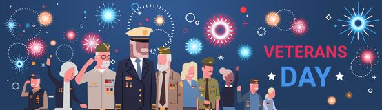 Veterans Day Celebration National American Holiday Banner With Group Of Retired Military People. Vector Illustration Stock Images