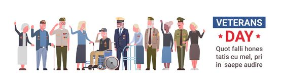 Veterans Day Celebration National American Holiday Banner With Group Of Retired Military People. Vector Illustration Royalty Free Stock Images