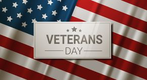 Veterans Day Celebration National American Holiday Banner Over Usa Flag Background Royalty Free Stock Images