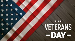 Veterans Day Celebration National American Holiday Banner Over Usa Flag Background Stock Image