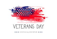 Veterans Day Celebration National American Holiday Banner Over Usa Flag Background Royalty Free Stock Photos