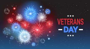 Veterans Day Celebration National American Holiday Banner Over Usa Flag Colored Firework Background. Vector Illustration Stock Photography