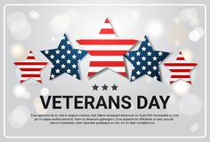 Veterans Day Celebration National American Holiday Banner Over Usa Flag Stars Royalty Free Stock Photography