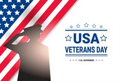 Veterans Day Celebration National American Holiday Banner With Soldier Silhouette Over Usa Flag Background Stock Photo