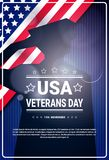 Veterans Day Celebration National American Holiday Banner With Soldier Silhouette Over Usa Flag Background Royalty Free Stock Photography