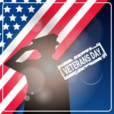 Veterans Day Celebration National American Holiday Banner With Soldier Silhouette Over Usa Flag Background Royalty Free Stock Photos