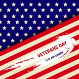 Veterans Day Celebration National American Holiday Banner With Usa Flag Stock Photo