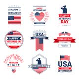 Veterans Day Celebration National American Holiday Icons Set, Collection Of Greeting Card With Usa Flag. Vector Illustration stock illustration