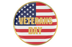 Veterans day cocept with badge Stock Images