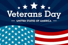 Veterans day concept background, flat style royalty free illustration