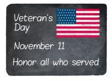 Veterans Day concept using chalk on slate blackboard Stock Photos