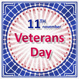 Veterans Day decor in grunge style with rays and caption 11th No Royalty Free Stock Photography