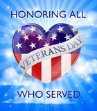 Veterans Day Design. A Veterans Day design of a heart and American Flag with a sky background stock illustration