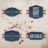 Veterans Day festive Emblems Collection. On grunge Background with Blood Drops. Vector Illustration Stock Image