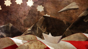 Veterans Day. Flag. And Mimetic Mountains. Chart Paper Boat and Airplane Royalty Free Stock Photo