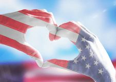 Veterans day, flag usa on hands. Digital composite of Veterans day, flag usa on hands Royalty Free Stock Images