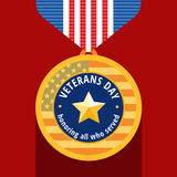 Veterans day flat medal Royalty Free Stock Image