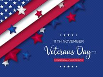 Veterans Day greeting card. 3d stars colors of american flag with greeting text on dotted background. Vector illustration stock illustration