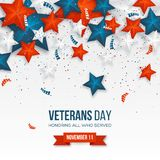Veterans Day greeting card. 3d stars in national colors with serpentine and confetti. American holiday background. Vector illustration stock illustration