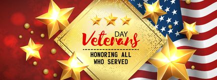 Veterans Day greeting card horizontal banner with golden stars anf flag. Vector. Stock Photography