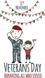 Veterans day greeting card with kids. National american holiday vector illustration with USA patriotic elements. Childrens freehand drawing, festive poster Stock Photo