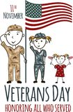 Veterans day greeting card with kids. National american holiday vector illustration with USA patriotic elements. Childrens freehand drawing, festive poster Royalty Free Stock Photos