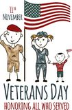 Veterans day greeting card with kids. National american holiday vector illustration with USA patriotic elements. Childrens freehand drawing, festive poster Stock Images