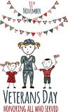 Veterans day greeting card with kids. National american holiday vector illustration with USA patriotic elements. Childrens freehand drawing, festive poster Stock Photos