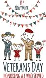 Veterans day greeting card with kids. National american holiday vector illustration with USA patriotic elements. Childrens freehand drawing, festive poster Royalty Free Stock Photography