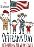 Veterans day greeting card with kids. National american holiday vector illustration with USA patriotic elements. Childrens freehand drawing, festive poster Stock Photography