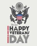 Veterans day greeting card. Veterans day poster in retro design Stock Photo