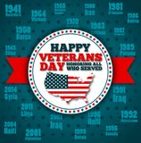 Veterans day greeting card template. National american holiday vector illustration with USA patriotic elements. Honoring all who served festive poster Stock Photo