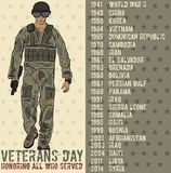 Veterans day greeting card template. National american holiday vector illustration with USA patriotic elements. Honoring all who served festive poster Stock Photography