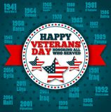 Veterans day greeting card template. National american holiday vector illustration with USA patriotic elements. Honoring all who served festive poster Royalty Free Stock Photography