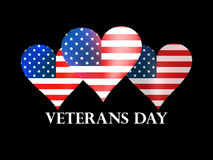 Veterans Day. Heart with the American flag on a black background. Vector Stock Photos