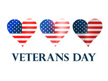 Veterans Day. Heart with the American flag on a white background. Vector Stock Image