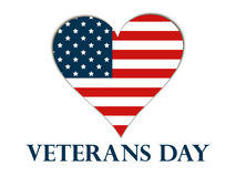 Veterans Day. Heart with the American flag on a white background. Vector Stock Photo