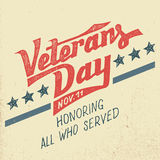 Veterans day holiday typographic design Royalty Free Stock Image