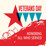 Veterans Day. Honoring all who served. Star. Vector illustration Stock Image