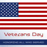 Veterans Day. Honoring all who served. Usa flag on background. Stars Royalty Free Stock Images