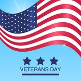 Veterans Day. Honoring all who served. USA flag on Blue background. Veterans Day. Honoring all who served. USA  flag on Blue  background. Vector Illustration Stock Photography