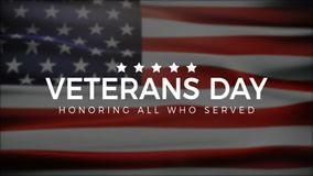 Veterans Day, Honoring all who served, USA Flag, HD animation, web banner