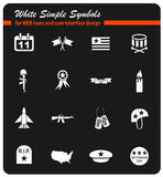 Veterans day icon set. Veterans day web icons for user interface design Royalty Free Stock Photo