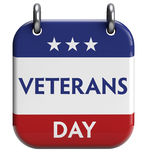 Veterans Day. Isolated calendar icon. Clipping path included for easy selection Stock Photography