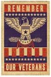 Veterans day stamp poster. Veterans Day Memorial Day stamp poster art America red white blue parchment vintage retro November 11 vector illustration