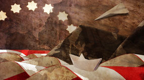 Veterans Day. Mimetic Mountains. Paper Boat and Airplane Stock Images