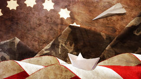 Veterans Day. Mimetic Mountains. Paper Boat. And Airplane Stock Photos