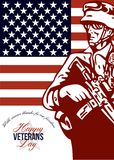 Veterans Day Modern American Soldier Card vector illustration